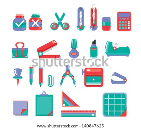 Stationary Set Vector 3 color - stock vector