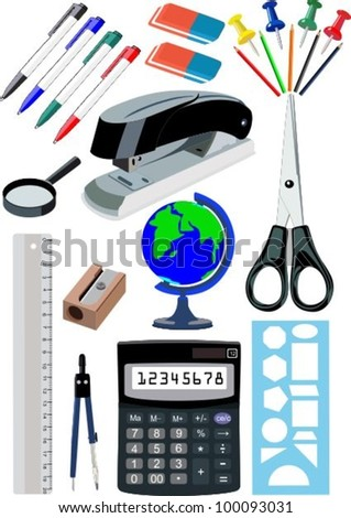 Stationery 1 - stock vector
