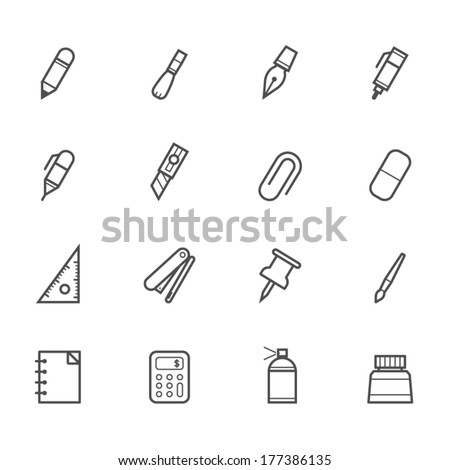 Stationery and Painting tools icons - stock vector