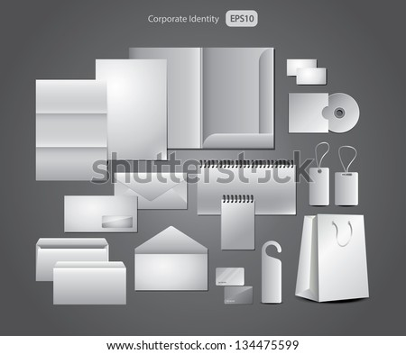 stationery design, corporate templates photo-realistic vector set - stock vector