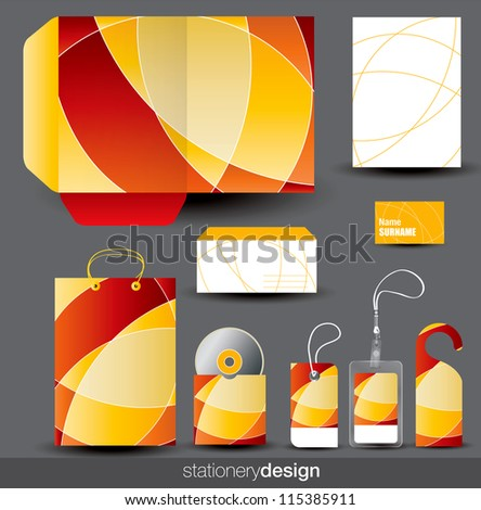 Stationery design set in editable vector format - stock vector