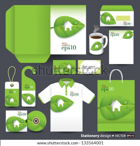 Stationery design set in vector format, Green concept, Save the world concept. - stock vector
