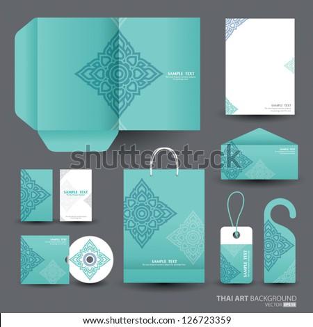 Stationery design set in vector format, Thai art Pattern - stock vector