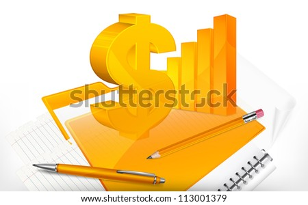 Stationery, diagram and dollar symbol, vector illustration for business - stock vector