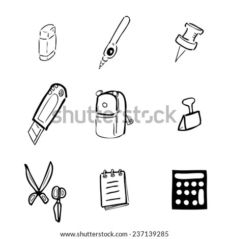 Stationery drawing icons set cartoon