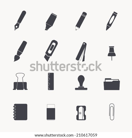 stationery icon set - stock vector