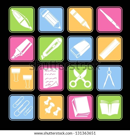 Stationery Icon Set Basic Style - stock vector
