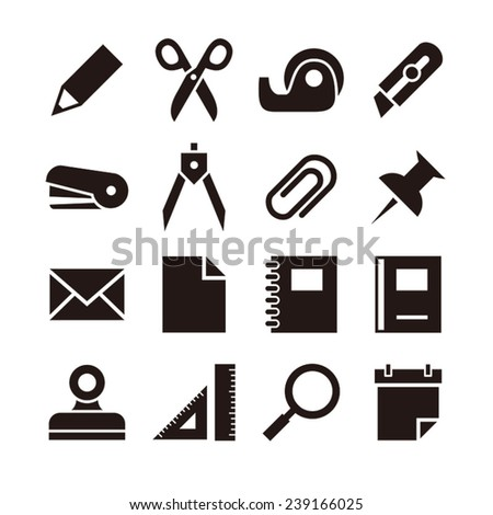 Stationery icon set / vector illustration - stock vector