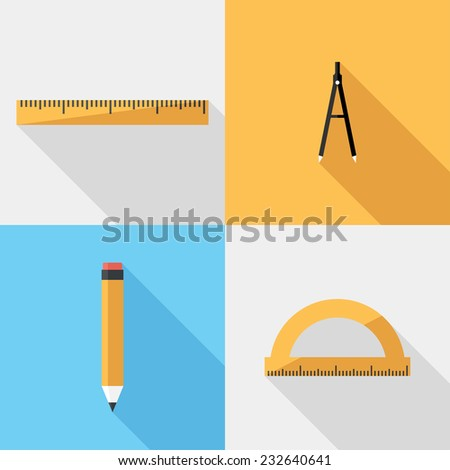 Stationery icons. Flat design style modern vector illustration. Isolated on stylish color background. Flat long shadow icon. Elements in flat design. - stock vector