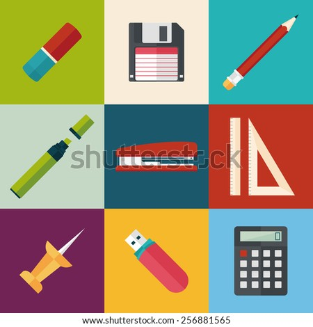 stationery icons set. flat style vector illustration - stock vector