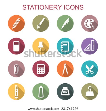 stationery long shadow icons, flat vector symbols - stock vector