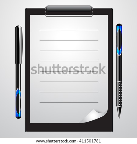 Stationery Set / Blank Piece of Paper with Pens Isolated. 3D Rendering