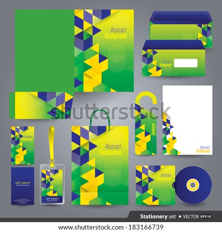 Stationery set design / Stationery template / Corporate identity design vector  in Brazilian flag concept. - stock vector