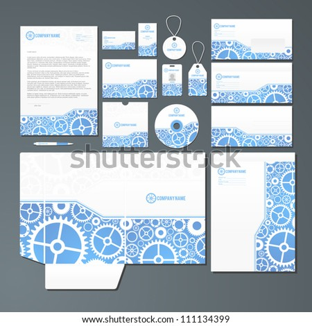 Stationery set with mechanics inspired illustration. All items are grouped and on separate layres for easy editing. - stock vector