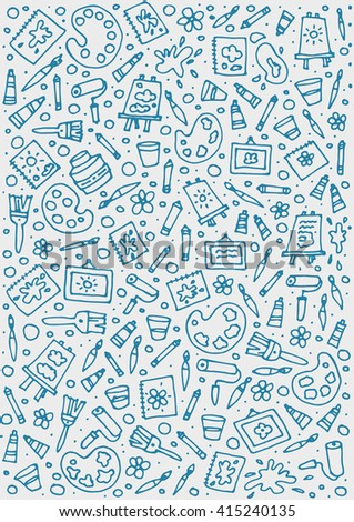 Stationery shop coloring book line art design vector illustration. Separate objects. Hand drawn doodle design elements.