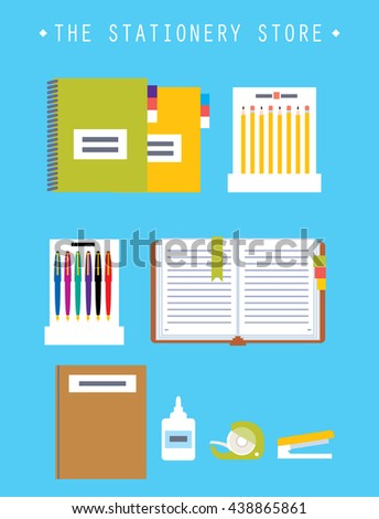 Stationery store set. Glue, notebooks, ink pen, book, pen, open notepad vector illustration.