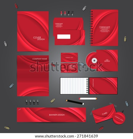 Stationery template design set with curves. Template for Business artworks. - stock vector
