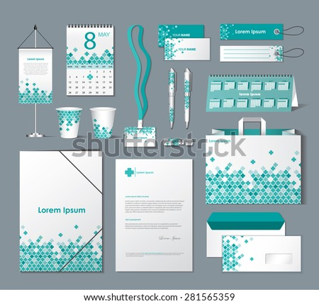 Stationery template design with colorful cross elements - vector illustration - stock vector