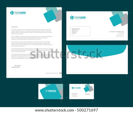 Stationery template element company branding business stock vector stationery template with element company branding business card envelope leaflet letterhead reheart Images