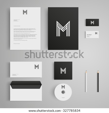 stationery template letter m logo corporate stock vector 327785834