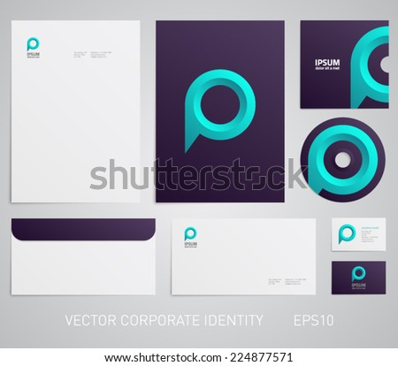Stationery template with speech bubble, map point, chat, social network, ubication, position. Corporate, company, identity, branding, brand, cd, business card, envelope, leaflet, letterhead, folder - stock vector