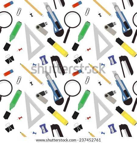 Stationery tools seamless vector pattern: eraser, clip, binder, pencil, knife, magnifying glass, green marker, usb flash drive, yellow marker, sharpener, stapler. No outline - stock vector