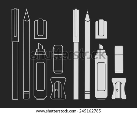 Stationery writing tools set. Pen, pencil, marker, eraser, sharpener. Vector chalk clip art illustration isolated on blackboard - stock vector