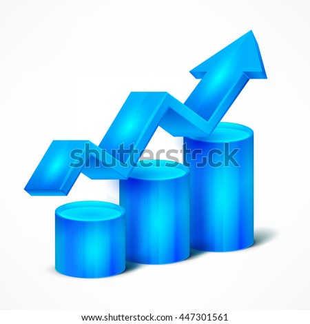 Statistic blue chart with arrow on white vector illustration - stock vector