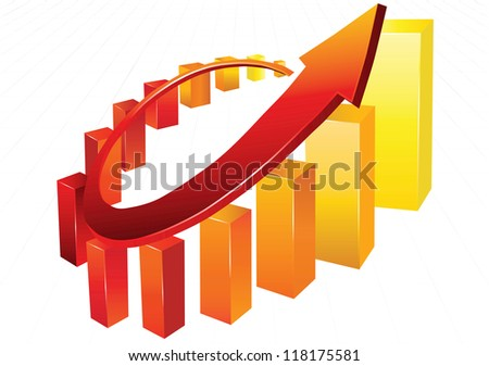Statistic charts, surrounded by 3d  arrow - stock vector