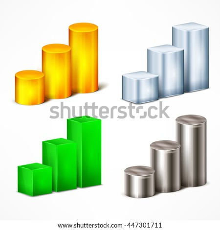 Statistic color indication elements on white vector illustration - stock vector