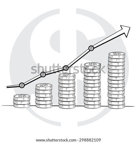 Statistic graphic with coins line drawing, Business concept, Illustration Vector eps10 - stock vector