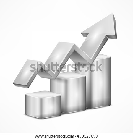 Statistic grey chart with arrow on white vector illustration - stock vector