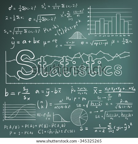 Statistic math law theory and mathematical formula equation doodle chalk handwriting icon with graph chart and diagram in blackboard background, create by vector