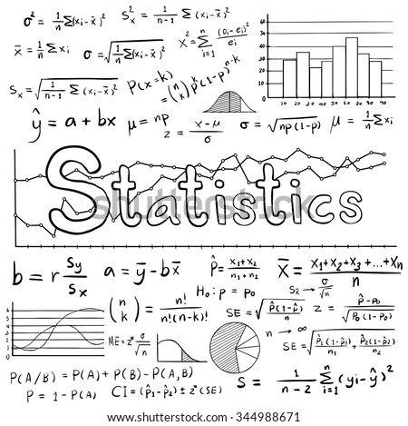 Statistic math law theory and mathematical formula equation doodle handwriting icon with graph chart and diagram in white isolated background, create by vector  - stock vector