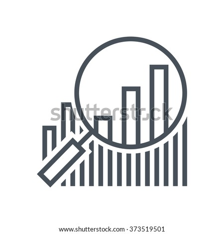 Statistics, analytics, magnifier icon suitable for info graphics, websites and print media and  interfaces. Line vector icon. - stock vector