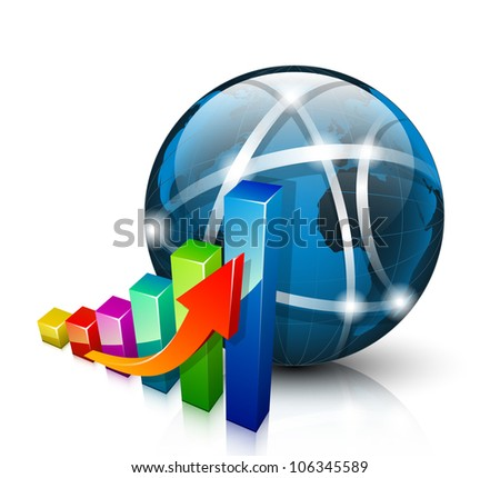Stats icon. 3D graph growing up and abstract globe - stock vector