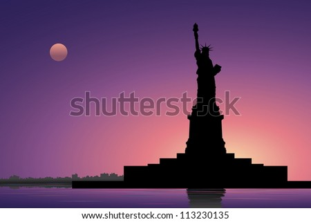 Statue of Liberty and New York City in the evening - stock vector