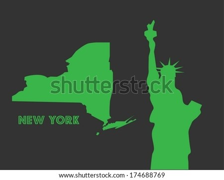 Statue of Liberty and New York State Silhouette - stock vector