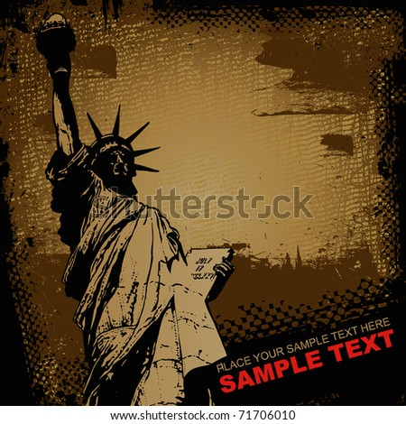 Statue of Liberty and retro scratch background, , graffiti style, vector illustration - stock vector