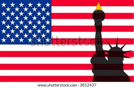 Statue of Liberty and US Flag - stock vector