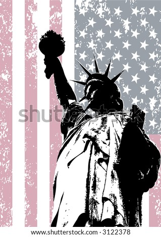 Statue of liberty background over grunge american flag - stock vector