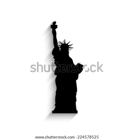Statue Of Liberty - black vector icon with shadow