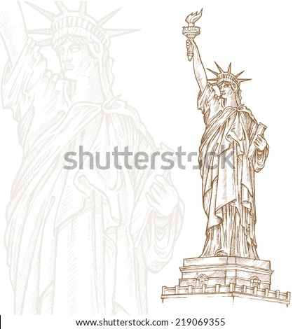 statue of liberty  hand draw on white background - stock vector