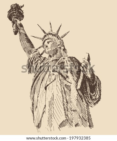 Statue of Liberty hand drawn vintage engraved illustration sketch - stock vector