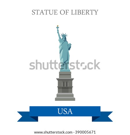 Statue of Liberty in New York NY, United States USA. Flat cartoon style historic sight showplace attraction web vector. World countries cities vacation travel sightseeing North America collection. - stock vector