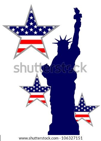 statue of liberty - independenceday - vector - stock vector