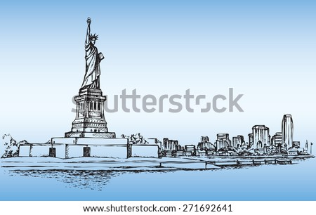Statue of Liberty is famous colossal woman figure on Island in NY Harbor. Vector monochrome freehand ink drawn background sketch in art scribble antique style pen on paper with space for text on sky - stock vector