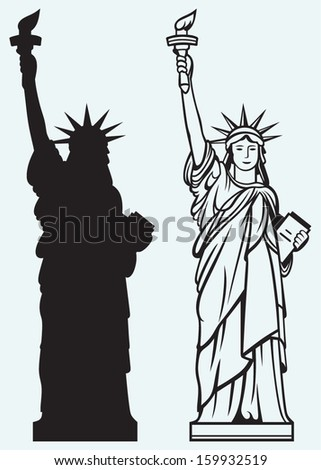 Statue of Liberty isolated on blue background - stock vector