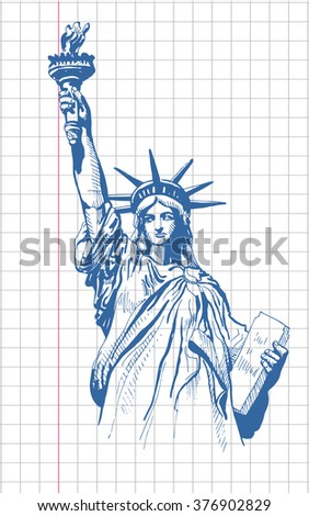 Statue of Liberty like a pen drawing in a school notebook, vector - stock vector