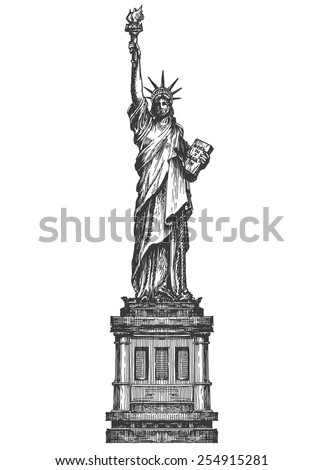 statue of liberty logo design template. America or United States icon. - stock vector